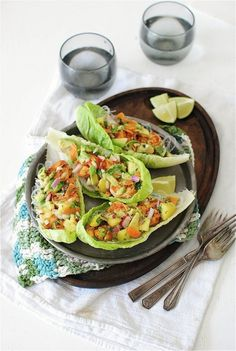 Fiery shrimp lettuce boats with an avocado-mango relish