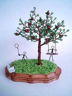 Apple Garden  Wire Sculpture Beaded Tree by wireforest on Etsy, $79.00