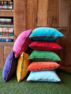 Velvet cushions with stripe piping. Available in colourful cotton velvets with coordinating Striped Fabrics, Striped Buttons, Striped Piping as Accents. Velvet Cushions, Cotton Velvet, Striped Fabrics, Home Accessories, Stripes, Buttons, Throw Pillows, Color