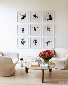 A series of dancing photos on the wall
