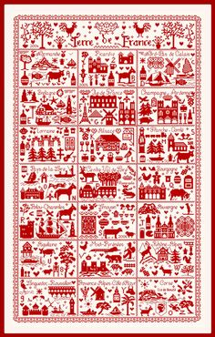 Stitch Count: 247 x 403 A grand tour of France! This chart uses a single color of thread, but you will need the equivalent of 12 skeins of DMC floss for stitching over 2 on 32 count, so be sure to stock up before you start. Cross Stitch Sampler Patterns, Embroidery Sampler, Cross Stitch Samplers, Cross Stitch Charts, Cross Stitch Designs, Cross Stitching, Cross Stitch Embroidery, Dmc Floss, Knitting Charts