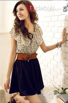 Beautiful Short Sleeves Round Neckline Polka Dots Dress : Tidebuy.com