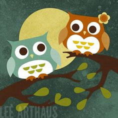56 Two Owls in Moonlight