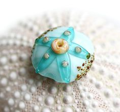 Beach Lampwork bead teal green with starfish and by MayaHoney, $8.00
