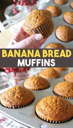 This is an easy and healthy banana bread muffin recipe. These muffins are the perfect make ahead freezer recipe for a quick breakfast or snack. Sweetened with just maple syrup or honey for the best banana bread muffins ever! Pumpkin Chocolate Chip Muffins, Banana Bread Muffins, Healthy Banana Bread, Sweet Breakfast, Breakfast Ideas, Breakfast Recipes, Food Stamps, Cooking Recipes, Flour Recipes