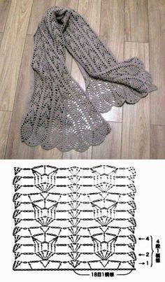Ideas For Crochet Shawl Pattern Diagram Ideas Crochet Shawl Diagram, Crochet Lace Scarf, Crochet Motifs, Crochet Scarves, Crochet Clothes, Crochet Stitches, Crochet Hats, Crochet Pattern, Diy Crafts Crochet