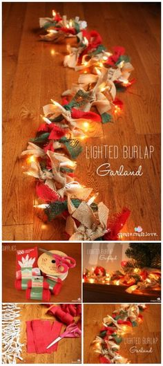 Rustic Farmhouse Inspired DIY Christmas Decoration Ideas - For Creative Juice Lighted Burlap Garland. Drape this light up garland anywhere! It looks great on your mantle, entryway, or even on your Christmas tree! Diy Christmas Garland, Simple Christmas, Christmas Christmas, Burlap Christmas Tree, Country Christmas Decorations, Christmas Decorations With Kids, Farmhouse Christmas Ornaments Diy, Decorating For Christmas, Chritmas Diy