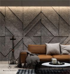 Living room design by: Amazing Interiors Strong lines. Squared arms and rich hues. Living room design nacFamily room designDesign your room for Interior Walls, Home Interior Design, Interior Decorating, Design Interiors, Living Room Designs, Living Room Decor, Wall Panel Design, Wall Cladding, Textured Walls