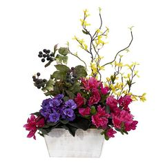 Nearly Natural Mixed Floral with Azalea and White Wash Planter (Mixed Floral w/Azalea & White Wash Planter) (Polyester)