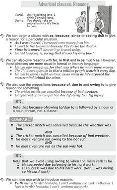 Grade 10 Grammar Lesson 46 Adverbial clauses: Reasons
