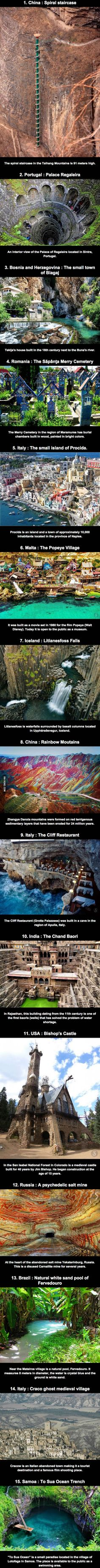 15 places need to visit before dying