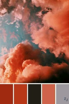 A popular color way currently. I don't think I have ever seen clouds close to these colors but this is ART! Color Schemes Colour Palettes, Colour Pallette, Color Combos, Sunset Color Palette, Pantone, Palette Pastel, Image Deco, Color Balance, Colour Board