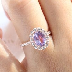 Large Lavender Sapphire Engagement Ring in 14k Rose Gold Luna Halo Ring, Size 6.25 | La More Design Stacked Wedding Rings, Matching Wedding Rings, Curved Wedding Band, Wedding Bands, Diamond Ring Settings, Halo Diamond, Traditional Engagement Rings, Purple Sapphire, Wedding Sets