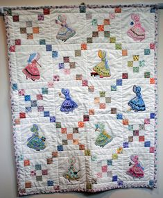 Baby quilt applique Sunbonnet Sue by egree2 on Etsy