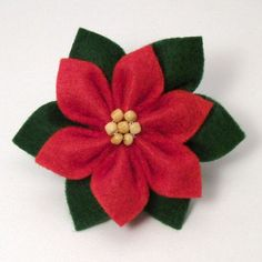 Felt Poinsettia DONATIONWARE craft tutorial : PlanetJune Shop, cute and realistic crochet patterns & Christmas Projects, Felt Crafts, Holiday Crafts, Crafts To Make, Christmas Ideas, Ribbon Crafts, Felt Christmas Decorations, Felt Christmas Ornaments, Crochet Ornaments