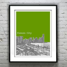 Panama City Poster Art Print City Skyline by AnInspiredImage