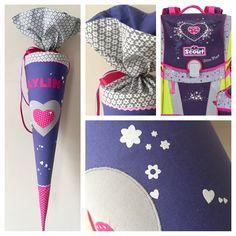 Schultüte aus Stoff mit Herz und Blumen passend zum Schulranzen, Lila und Grau