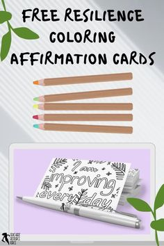Are you interested in being an inspirational teacher who helps your students develop their resilience and strong mental health? These coloring affirmation cards not only offer a mindfulness opportunity to color in and reflect on the affirmation, but they also have a key step that helps the brain find evidence to back up the affirmation statement making it more likely to be believed and thus actually work towards changing the attitude! You can get these 5 cards for free right now #resilience
