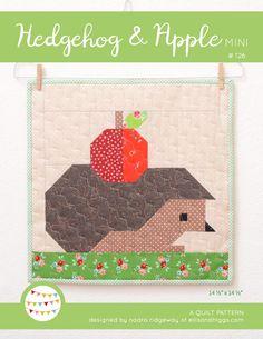 PDF Quilt Pattern - Hedgehog and Apple by ellisandhiggs on Etsy https://www.etsy.com/listing/557258071/pdf-quilt-pattern-hedgehog-and-apple