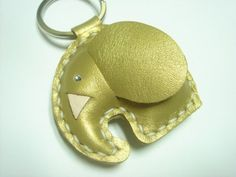New Laura Elephant Leather Keychain  Metallic by leatherprince, $19.90