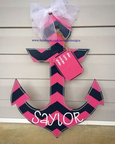 Hot pink and navy anchor for baby girl nursery  www.facebook.com/woodardesigns