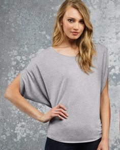 B8806 Ladies' Flowy Circle Top Fashion-forward circle scooped neck Circle draped silhouette Athletic Heather made from 52% polyester 48% viscose