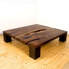 coffee table - wood slab, modern lines, rustic