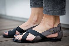 10 Sale Faye Black Leather Sandals Flat Summer Shoes door abramey