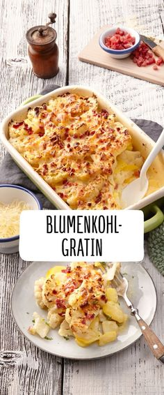 Cauliflower and potato gratin with ham cubes Low Carb Rezepte für jeden Tag Cauliflower Potatoes, Cauliflower Recipes, Mexican Food Recipes, Snack Recipes, Ethnic Recipes, Benefits Of Potatoes, Healthy Snacks, Healthy Recipes, Cooking Dishes