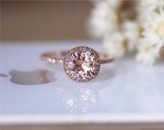 Pink Round 7mm halo VS Morganite Ring Diamonds by JulianStudio