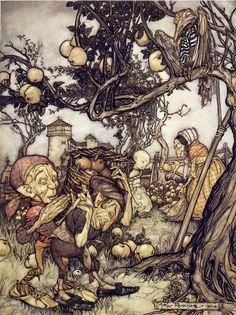 Windfall - Arthur Rackham from the collected work of The Brothers Grimm Arthur Rackham, Harry Clarke, Ink Illustrations, Children's Book Illustration, Kensington Gardens, Brothers Grimm Fairy Tales, Vintage Fairies, Fairytale Art, Fantasy Artwork