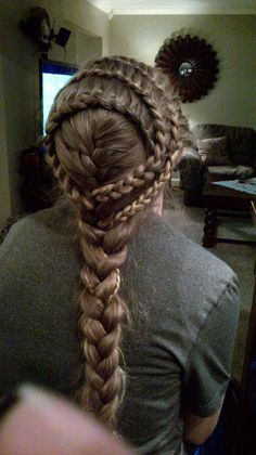 cute hairstyle, although instead of braiding all the way down, I'd curl it :)