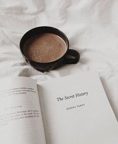 """Reading """"The Secret History"""" a novel by Donna Tartt while enjoying a cup of hot chocolate Hipster Vintage, Youth Club, Book Aesthetic, Beige Aesthetic, Aesthetic Coffee, Journal Aesthetic, The Secret History, Coffee And Books, Coffee Coffee"""