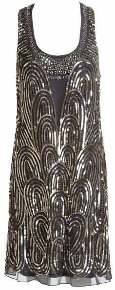 1920s dress, beautiful art deco pattern.