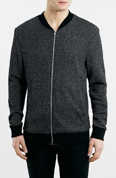 $65, Charcoal Bomber Jacket: Topman Lightweight Waffle Knit Bomber Jacket. Sold by Nordstrom. Click for more info: http://lookastic.com/men/shop_items/192795/redirect
