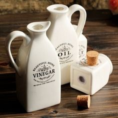 New-Kitchen-Salt-Pepper-Shaker-Vinegar-Oil-Pot-Jar-Container-Set-White-Ceramic