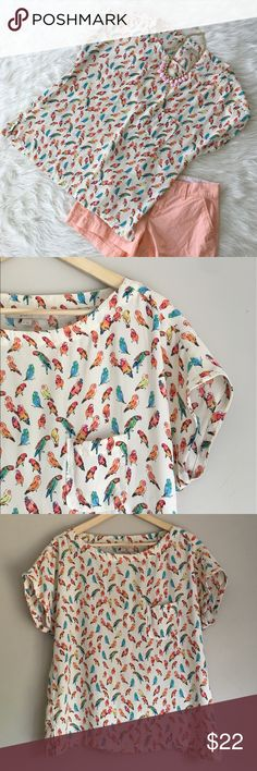 Ann Taylor LOFT Parrot Top Ann Taylor LOFT parrot top. Size medium. 100% polyester. So adorable! EUC. ❌ No Trades ❌ No off Poshmark transactions ❌ Modeling ❤️ Bundle and save 📬 Fast shipper ❤️ I love reasonable offers LOFT Tops Blouses