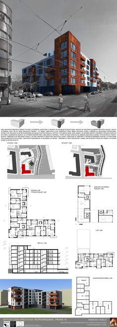 Studentský projekt. LS 2013/2014. FSv ČVUT v Praze. Praha, Architecture Plan, Ideas Para, House Plans, Floor Plans, Houses, How To Plan, Building, Presentation Board Design