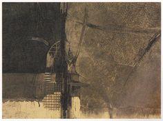 1986-風の背骨-3 50x67cm copperplate print with chine collé(etching)  林孝彦 HAYASHI Takahiko 1983