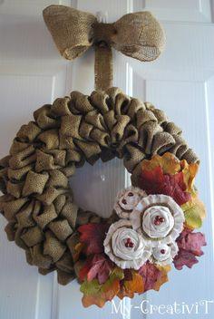 Fall Burlap Wreath from @Tracey - My CreativiT