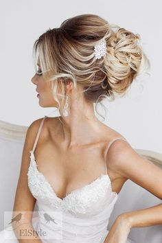 simple wedding updo hairstyle - Deer Pearl Flowers