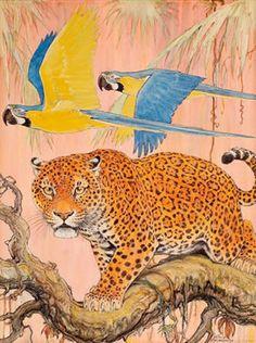 Djinn Gallery — Paul Bransom - Jaguar and macaws Saint Eve, Animal Habitats, Artist Biography, Leopards, Wildlife Art, Art Auction, Illustrators, Original Art, Illustration Art