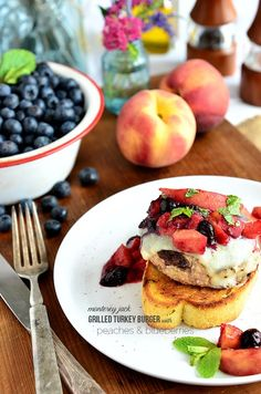 Monterey Jack Grilled Turkey Burger with Peaches and Blueberries