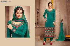 GREEN SILK SUIT WITH EMBROIDERY WORK