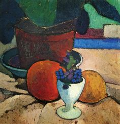 Stilleben mit Blattpflanze, Zitrone und Apfelsine (Still Life with Leafy Plant, Lemon and Orange), Tempera on canvas by Paula Modersohn-Becker Paula Modersohn Becker, Still Life Fruit, Art Japonais, Painting Still Life, Fruit Art, Art Graphique, Matisse, Illustrations, Painting & Drawing
