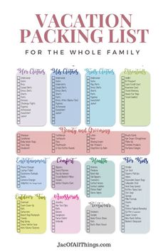 Vacation Packing List - The Ultimate Packing Checklist (Free Printable) - - This ultimate vacation packing list will making packing much easier! Read on to learn our favorite packing tips and access your free checklist today. Holiday Packing Lists, Packing Tips For Vacation, Travel Packing Checklist, Packing List Beach, Ultimate Packing List, Vacation Trips, Family Vacations, Holiday Checklist, Vacation Deals