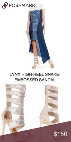 """BCBG """"Lynx"""" high heel snake embossed sandal From BCBG website: Exquisite detailing and carefully placed cutouts make this a must-have style for breathtaking warm weather looks. Open toe; cutouts at shaft; allover snake pattern; studded trim at straps; center back zip closure. Fits true to size. 4 1/2"""" metallic heel, 7 1/2"""" shaft height. ✨Will consider reasonable offers. Please use the """"offer"""" option.✨ BCBGMaxAzria Shoes Heels"""