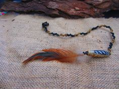 Your place to buy and sell all things handmade Easy Clip, Feather Hair, Feathered Hairstyles, Wooden Beads, Whisper, Black And Brown, Extensions, Macrame, Wigs