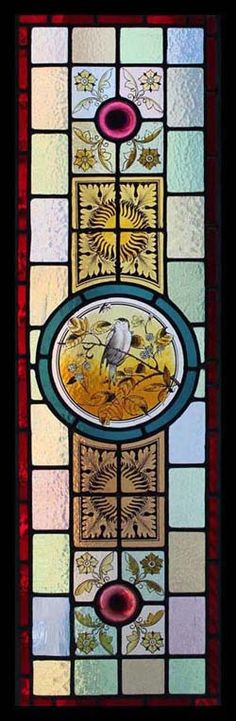 Victorian Stained Glass Panel with a Central Roundel of Bird & Leaves . Stained Glass Designs, Stained Glass Panels, Leaded Glass, Stained Glass Art, Mosaic Art, Mosaic Glass, L'art Du Vitrail, Art Mural, Art For Art Sake