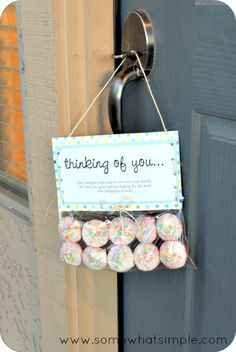 Christmas Gift Idea to leave on door knobs ~ Print out a cute Christmas themed Poem on Card Stock and to the bags add Holiday cookies, brownies or homemade candies